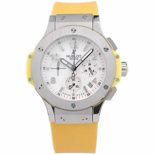 Hublot Big Bang Yellow Strap White Dial Watch 98071