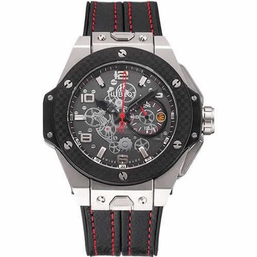 Hublot Big Bang Ferrari Black Dial And Bezel Stainless Steel Case Black Leather Strap  622767