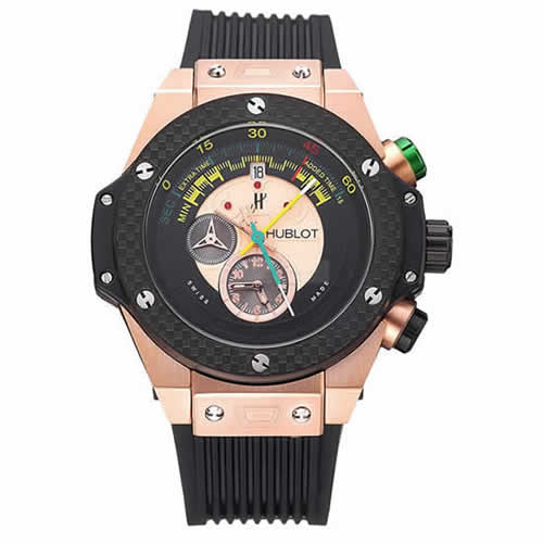 Hublot Big Bang Unico Bi-Retrograde Chrono King  Gold Case Black Rubber Strap  622772