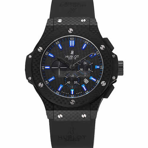 Hublot Big Bang Carbon Dial With Blue Markings Carbon Case And Bezel Black Rubber Strap  622774