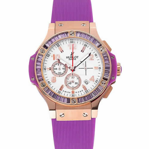 Hublot Big Bang Tutti Frutti Purple Strap Gold Dial