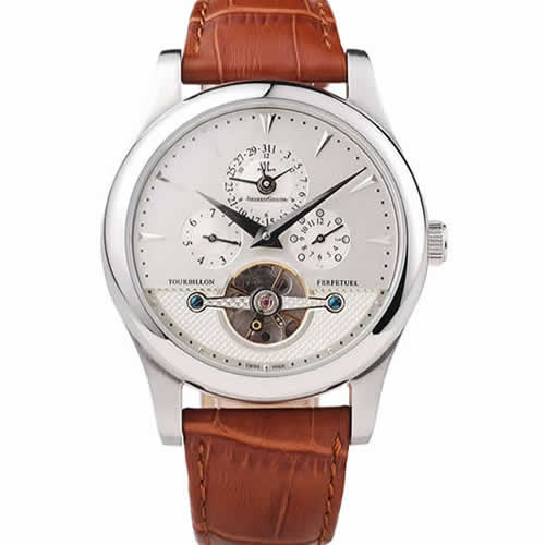 Jaeger Le Coultre Master Control Tourbillon White Dial Brown Leather Strap