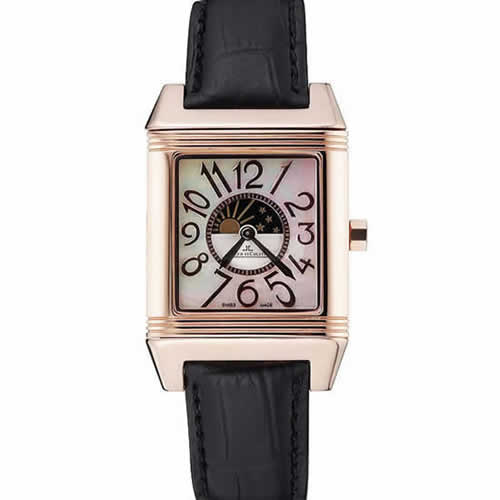 Jaeger le Coultre Reverso Squadro Lady Black Leather Strap Pearl Dial 41966