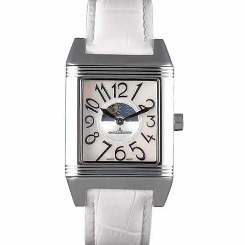 Jaeger le Coultre Reverso Squadro Lady White Leather Strap Pearl Dial 41970