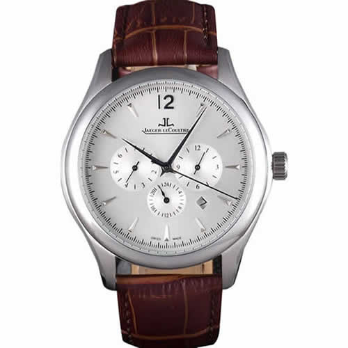 Jaeger Lecoultre Master Chronograph Silver Bezel Brown Leather Band  621612