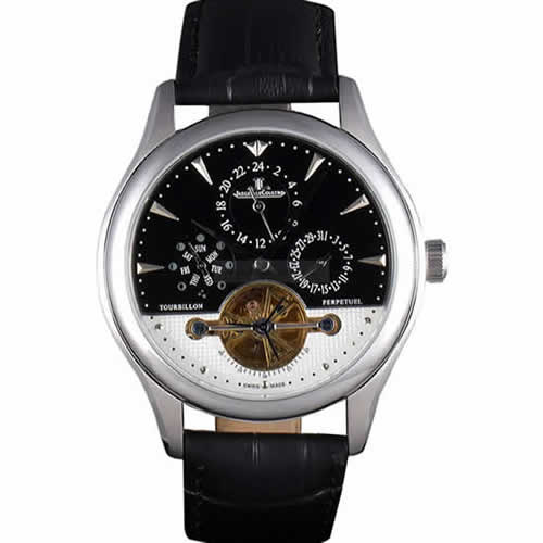 Jaeger Lecoultre Tourbillon  Perpetuel Silver Bezel Black Leather Band  621614