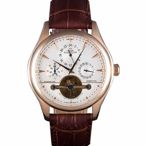 Jaeger Lecoultre Tourbillon  Perpetuel Gold Bezel Brown Leather Band  621618