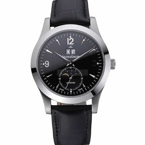 Jaeger LeCoultre Master Black Dial Black Leather Band Stainless Steel Bezel  622079