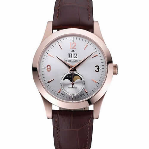 Jaeger LeCoultre Master White Dial Brown Leather Band Rose Gold Bezel  622080