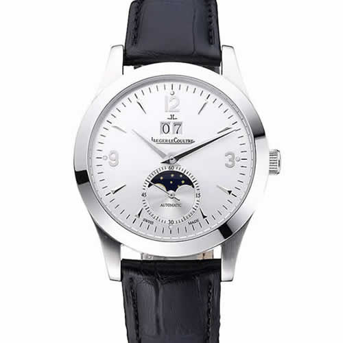 Jaeger LeCoultre Rendez-Vous Night And Day White Dial Black Leather Bracelet 622082