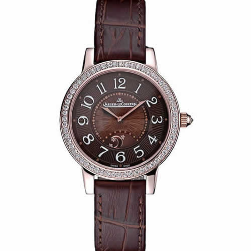 Jaeger LeCoultre Rendez-Vous Brown Dial Brown Leather Strap Rose Gold Diamond Bezel  622084