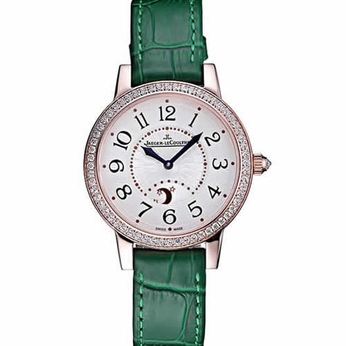 Jaeger LeCoultre Rendez-Vous White Dial Green Leather Strap  622085