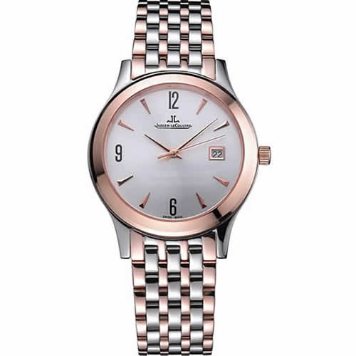 Jaeger LeCoultre Master White Dial Rose Gold Bezel Two Tone Band  622090