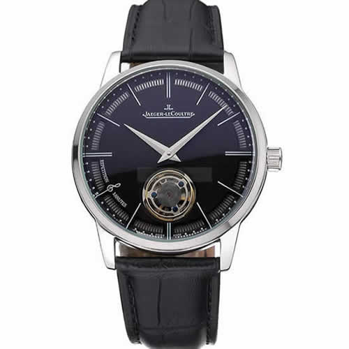 Jaeger-LeCoultre Master Flying Tourbillon Black Dial Stainless Steel Case Black Leather Strap  622777