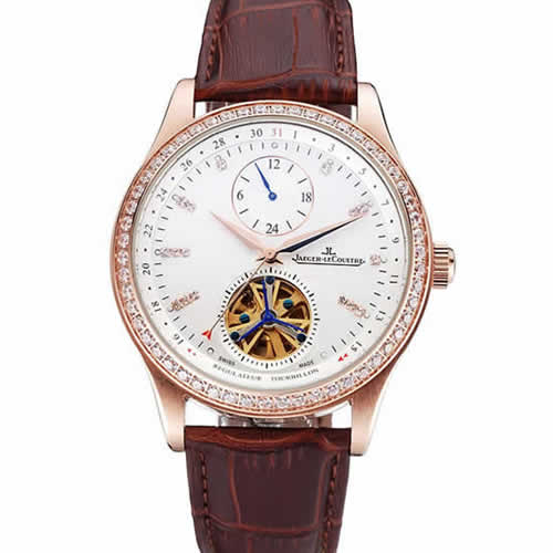 Jaeger-LeCoultre Master Tourbillon Dualtime White Dial Gold Case With Diamonds Brown Leather Strap  622782