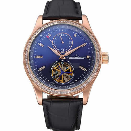Jaeger-LeCoultre Master Tourbillon Dualtime Black Dial Gold Case With Diamonds Brown Leather Strap  622783