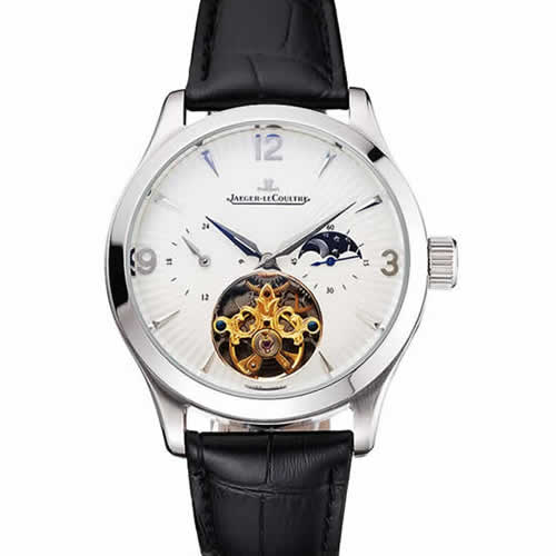Jaeger LeCoultre Master Moonphase Tourbillon White Dial Stainless Steel Case Black Leather Strap