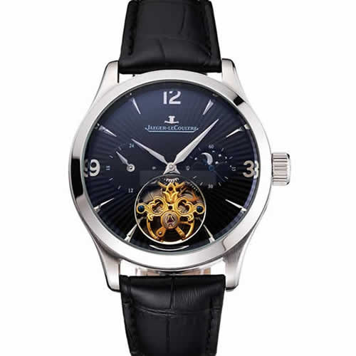 Jaeger LeCoultre Master Moonphase Tourbillon Black Dial Stainless Steel Case Black Leather Strap