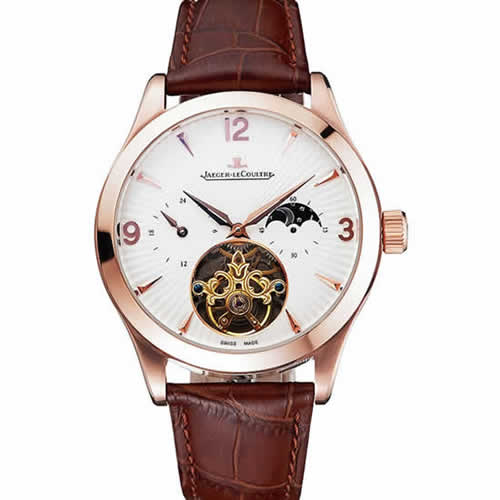Jaeger LeCoultre Master Moonphase Tourbillon White Dial Rose Gold Case Brown Leather Strap
