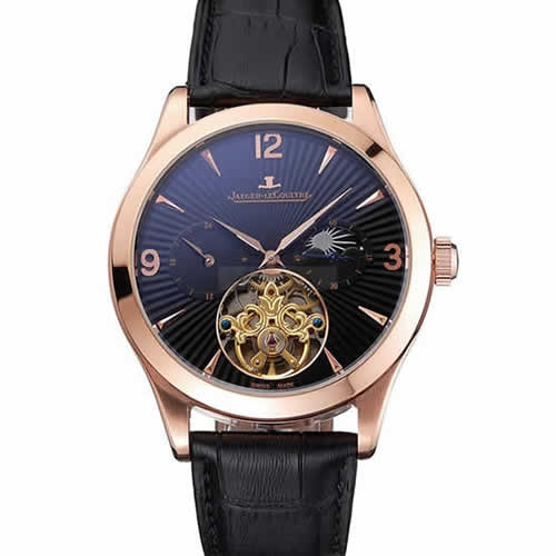Jaeger LeCoultre Master Moonphase Tourbillon Black Dial Rose Gold Case Black Leather Strap