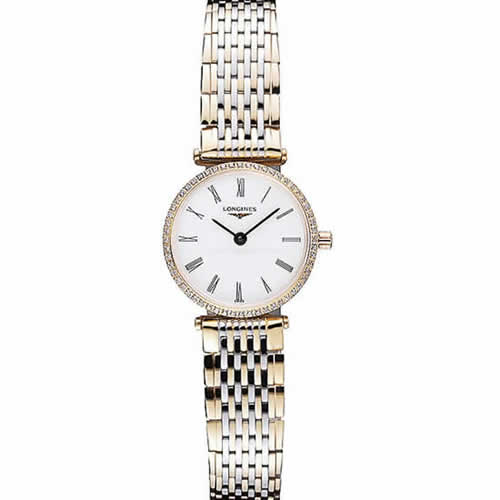 Longines La Grande Classique Two Tone Band White Dial Diamond Bezel Femme  622104