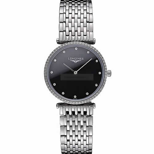 Longines La Grande Classique Stainless Steel Black Dial Diamond Bezel Homme  622107