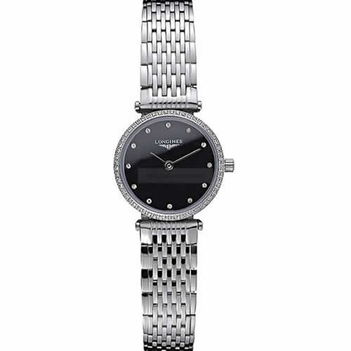Longines La Grande Classique Stainless Steel Black Dial Diamond Bezel Femme  622108