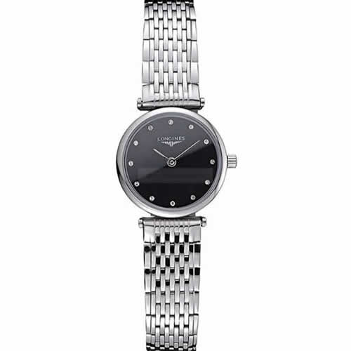 Longines La Grande Classique Stainless Steel Black Dial Diamond Markers Femme  622112