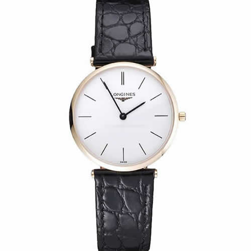 Longines La Grande Classique White Dial Black Leather Strap Homme  622115