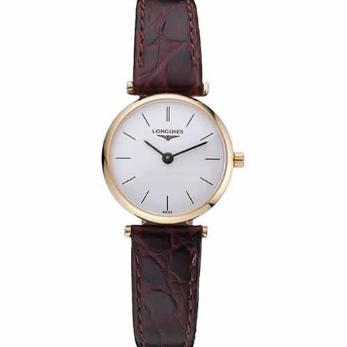 Longines La Grande Classique White Dial Brown Leather Strap Femme  622120