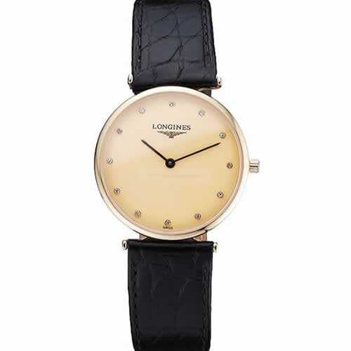 Longines La Grande Classique Champagne Dial Black Leather Band Diamond Markers Homme  622121