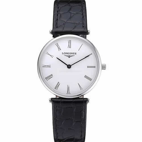 Longines La Grande Classique White Dial Black Leather Band Homme  622127