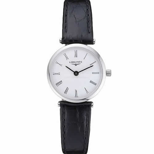 Longines La Grande Classique White Dial Black Leather Band Femme  622128
