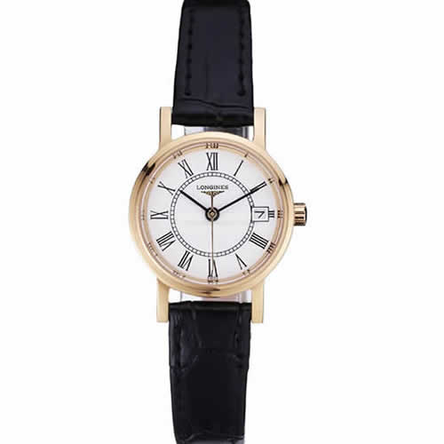 Longines La Grande Classique White Round Dial Gold Case Black Leather Band Small  622383