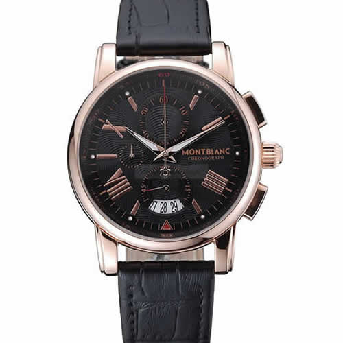 Montblanc Chronograph Black Dial Black Leather Bracelet Rose-Gold Case 1454110