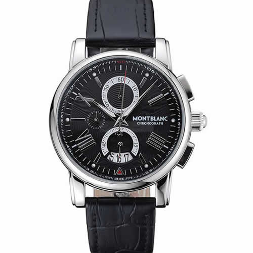 Montblanc Chronograph Black Dial Black Leather Bracelet Silver Case 1454111