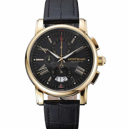 Montblanc Chronograph Black Dial Black Leather Bracelet Gold Case 1454112