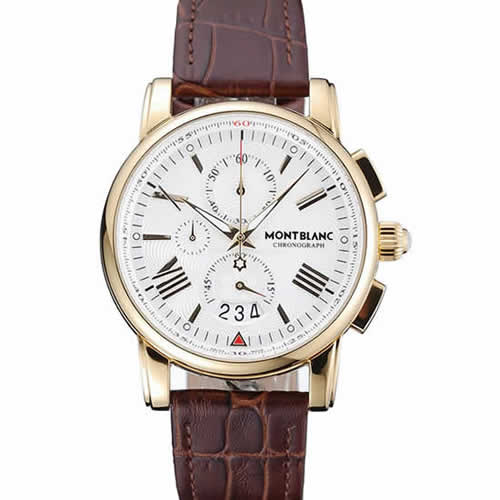 Montblanc Chronograph White Dial Brown Leather Bracelet Gold Case 1454113