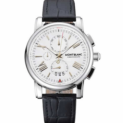 Montblanc Chronograph White Dial Black Leather Bracelet Silver Case 1454114