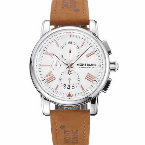 Montblanc Chronograph White Dial Brown Suede Leather Bracelet Silver Case 1454115