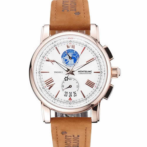 Montblanc Twinfly Chronograph White Dial Brown Suede Leather Bracelet 1454116