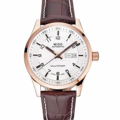 Mido Multifort Brown Croco Leather Strap White-Silver Dial 80300