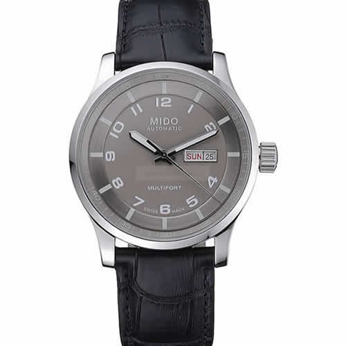 Mido Multifort Grey Dial Black Leather Strap  622179