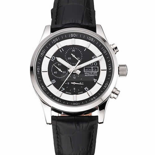 Mido Multifort Cronograph 2 Tone Dial Black Leather Strap  622184