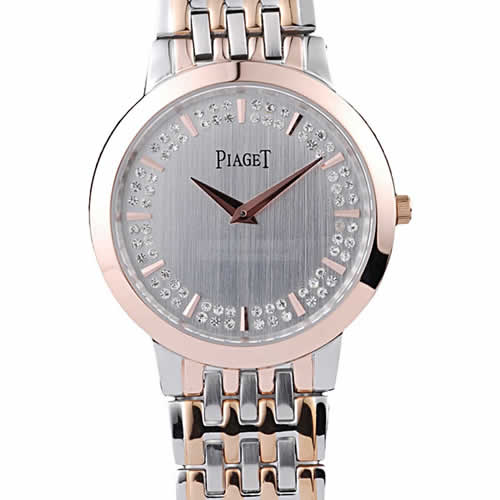 Piaget Traditional Rose Gold Case Double Studded Minute Markers Silver Dial