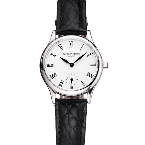 Patek Philippe Calatrava White Dial Roman Numerals Stainless Steel Case Black Leather Strap