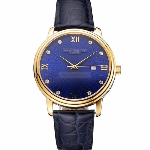 Patek Philippe Calatrava Date Blue Embossed Dial Gold Case Blue Leather Strap