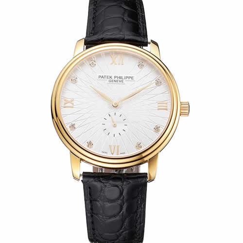 Patek Philippe Calatrava White Embossed Dial Gold Case Black Leather Strap