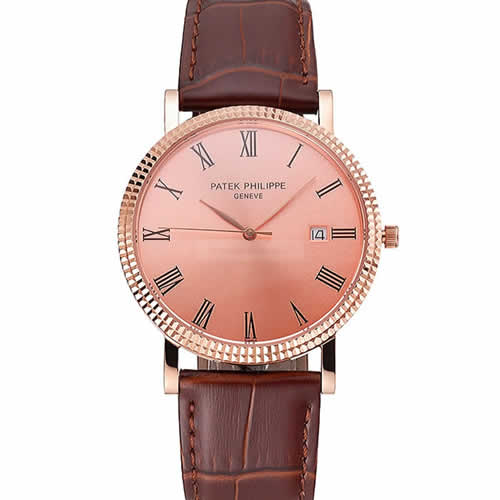 Patek Philippe Calatrava Rose Gold Dial Roman Numerals Ribbed Bezel Rose Gold Case Brown Leather Strap