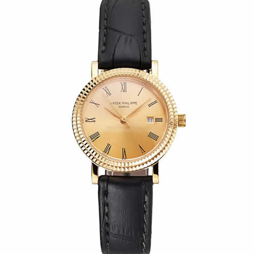 Patek Philippe Calatrava Gold Dial Roman Numerals Double Ribbed Bezel Gold Case Black Leather Strap